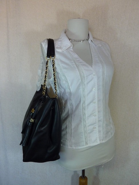 Tory Burch Thea Chain Slouchy Black Pebbled Leather Tote Tory Burch Thea Chain Slouchy Black Pebbled Leather Tote Image 4