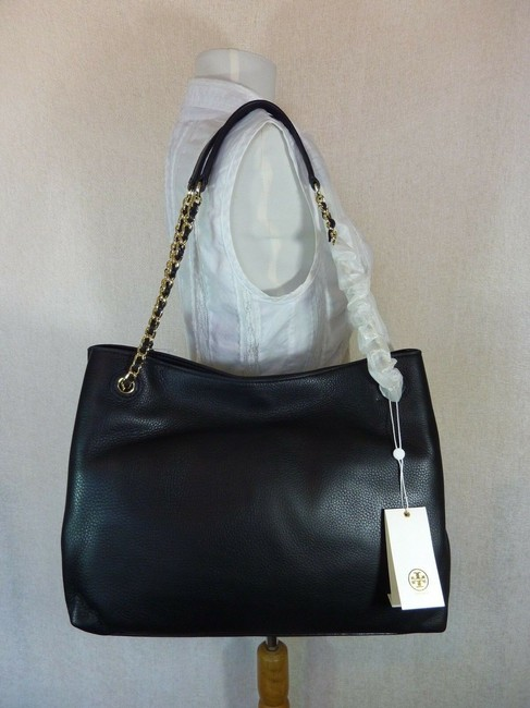 Tory Burch Thea Chain Slouchy Black Pebbled Leather Tote Tory Burch Thea Chain Slouchy Black Pebbled Leather Tote Image 5