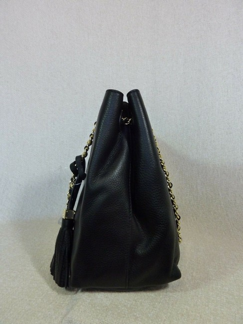 Tory Burch Thea Chain Slouchy Black Pebbled Leather Tote Tory Burch Thea Chain Slouchy Black Pebbled Leather Tote Image 8