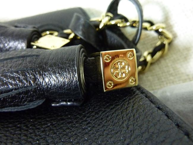 Tory Burch Thea Chain Slouchy Black Pebbled Leather Tote Tory Burch Thea Chain Slouchy Black Pebbled Leather Tote Image 10
