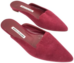 Manolo Blahnik Slides Pointy Toe Red Raspberry Mules