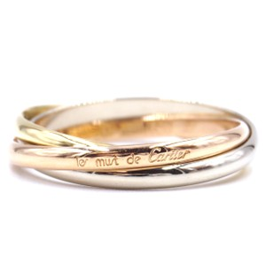 Cartier 18K Trinity white gold yellow rose pink gold ring size 57