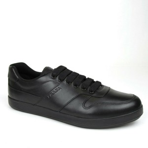 Prada Black Men's Leather Lace-up Sneakers Uk 9.5/Us 10.5 4e3367 Shoes