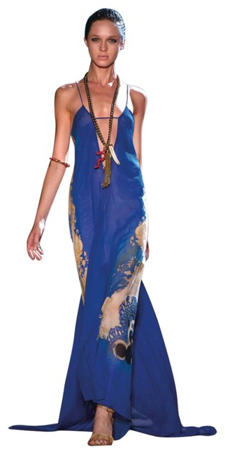 Item - Blue Gold Silk Long Night Out Dress Size 4 (S)