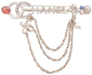 Chanel Chanel Brand New Gold Bar Crystal Fresh Pearl Stone Chain Brooch