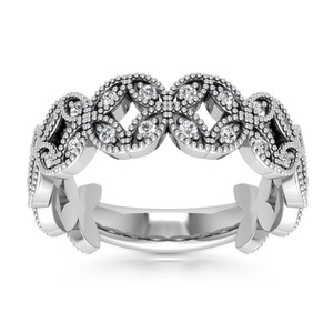 Natural Diamonds of NYC White 0.34 Ct Round Cut Band In 14 Kt Gold Ring