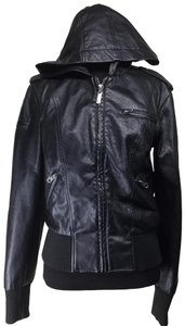 Nollie Bomber Hooded Vegan Faux Leather Jacket