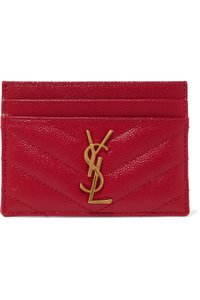 Saint Laurent Red Quilted Leather Card Holder