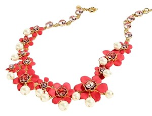 J.Crew J Crew Pearl and crystal floral statement necklace new