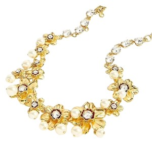 J.Crew J Crew Pearl and crystal floral statement necklace