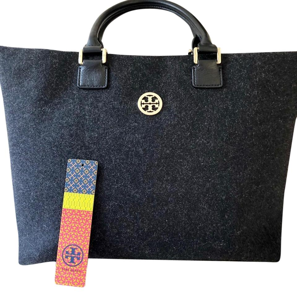 bea8d30410e Tory Burch Dena Tote in Black Charcoal with black leather straps Image 0 ...