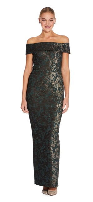 Item - Hunter Off The Shoulder Metallic Jacquard Leaf Mermaid Long Formal Dress Size 0 (XS)