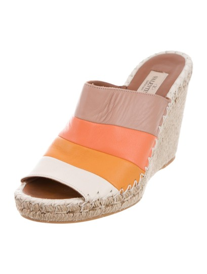 Valentino Tan Striped Wedges Image 1