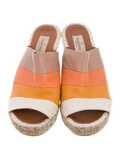Valentino Tan Striped Wedges Image 2