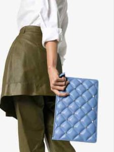 Valentino Candy Quilted Rockstud Blue Clutch