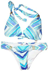 Bar III BAR III arf-Print Halter Bikini Top And Bottom Multi-Blue Colors XS
