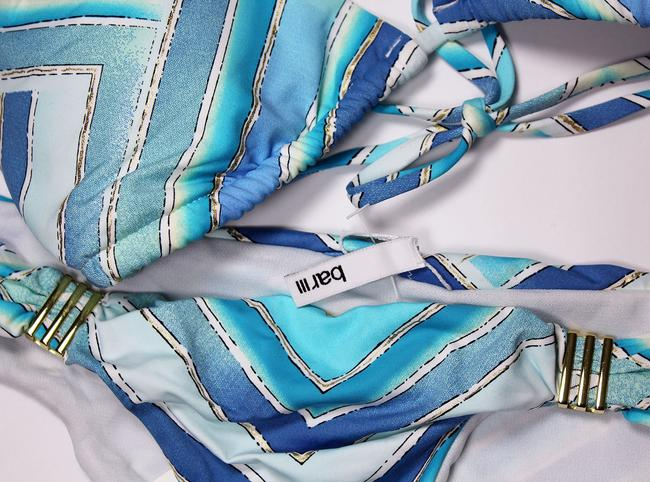 Bar III BAR III arf-Print Halter Bikini Top And Bottom Multi-Blue Colors XS Image 1