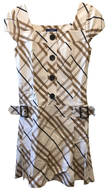 Item - White Beige Check Short Casual Dress Size 6 (S)