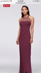 David's Bridal Wine Polyester Long with Illusion Neckline Formal Bridesmaid/Mob Dress Size 4 (S)