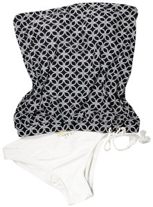 Michael Kors Rope-Tie Bandeau Tankini Top Black And Solid Hipster Brief White XS