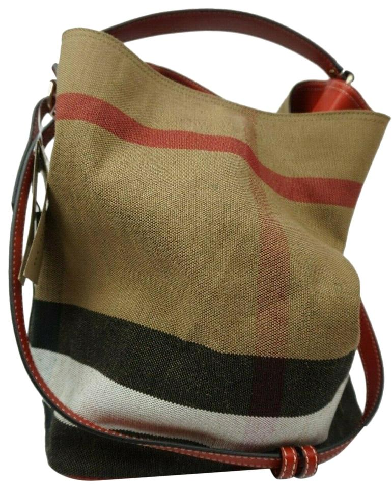 6cec7f8205f488 Burberry Bucket Medium Susanna Check Print Red Canvas and Leather ...