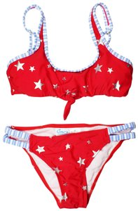 California Waves Juniors Americana Keyhole Bikini Red XS