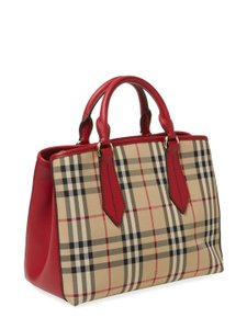 Burberry London Check Ballingdon Horseferry Tote in Honey / Parade Red