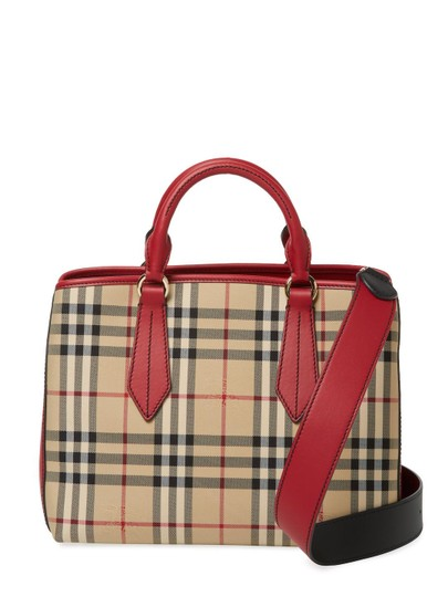 Burberry London Check Ballingdon Horseferry Tote in Honey / Parade Red Image 1