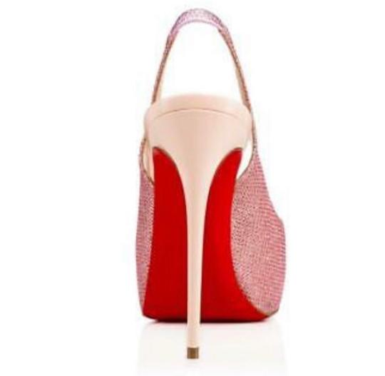 Christian Louboutin Silver White Red Private Number 120 Poudre Glitter Formal Size US 7.5 Regular (M, B) Image 1