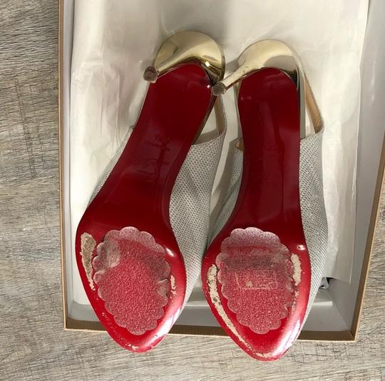 Christian Louboutin Silver White Red Private Number 120 Poudre Glitter Formal Size US 7.5 Regular (M, B) Image 4