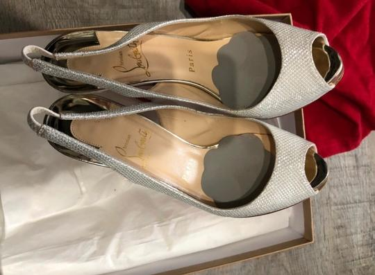 Christian Louboutin Silver White Red Private Number 120 Poudre Glitter Formal Size US 7.5 Regular (M, B) Image 5
