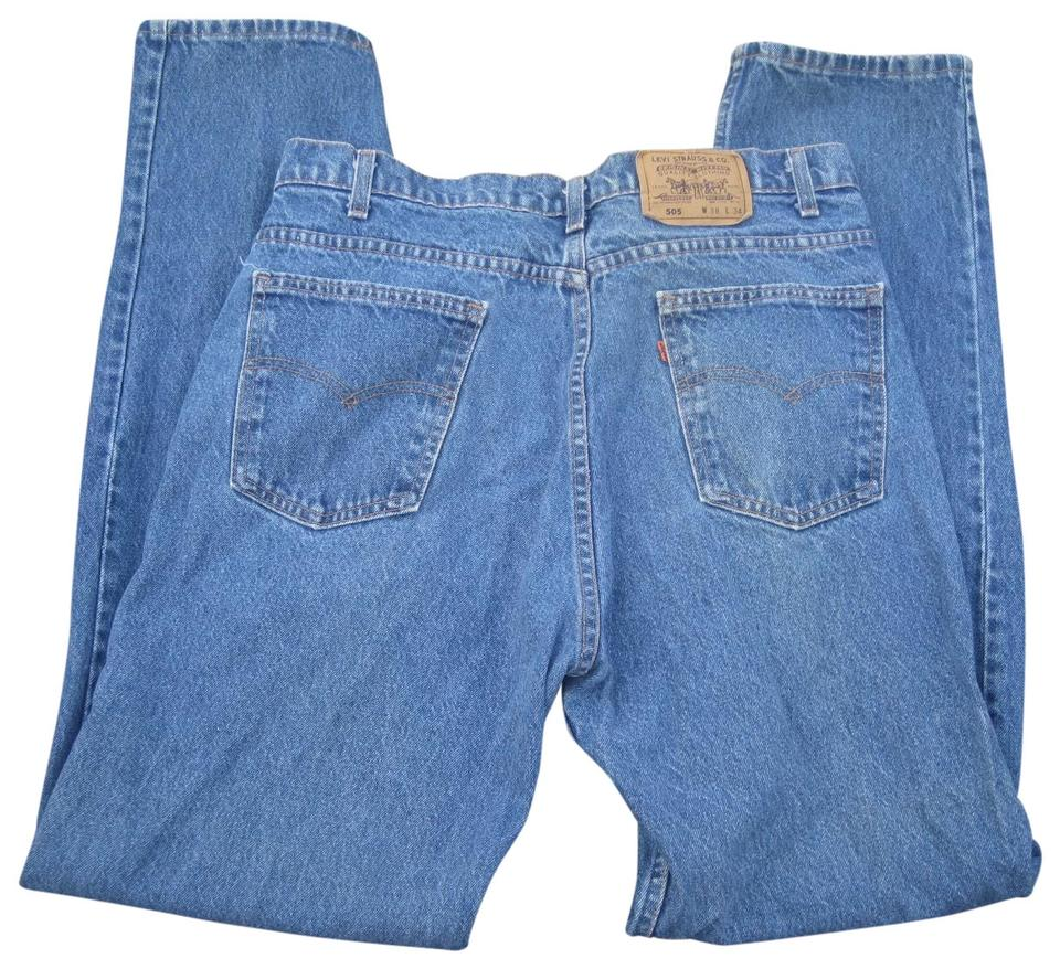 43d84932 Levi's Blue Vtg Usa Made Orange Tab 38 X 34 Straight Leg Jeans Size ...