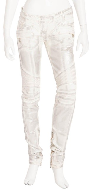 Item - White Silver Coated Moto Style Skinny Jeans Size 29 (6, M)