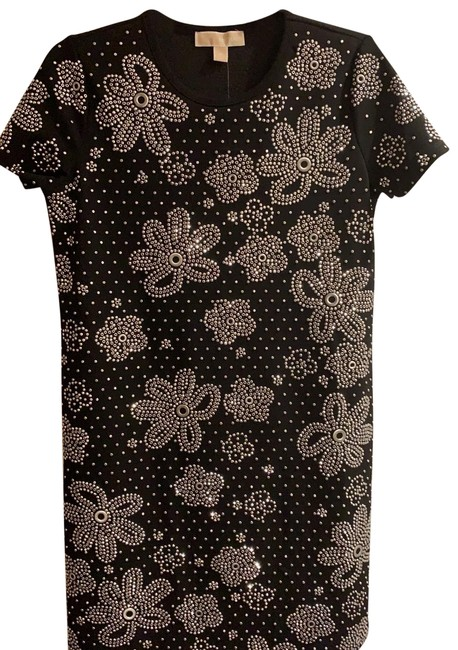 Item - Black With Sparkly Flowers Short Night Out Dress Size 8 (M)