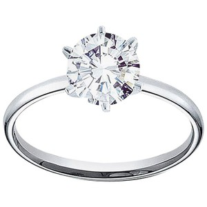 White Gold Certified 0.96 Carat Round and Band 14k Engagement Ring