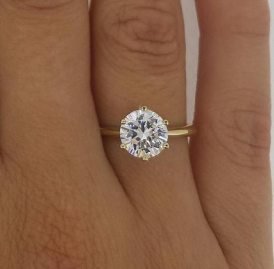 White Gold Certified 0.96 Carat Round and Band 14k Engagement Ring Image 2