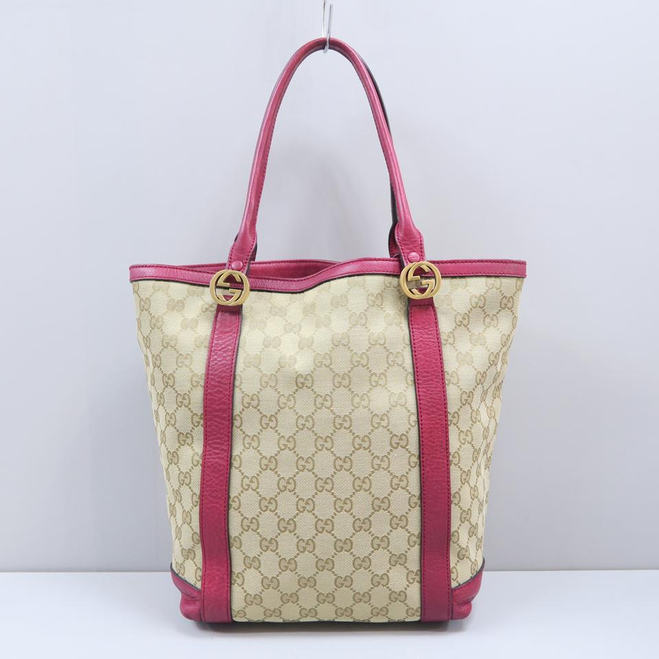 2d00afeacc6565 Gucci Gg Canvas Red Leather Tote in Beige and brown Image 11.  123456789101112