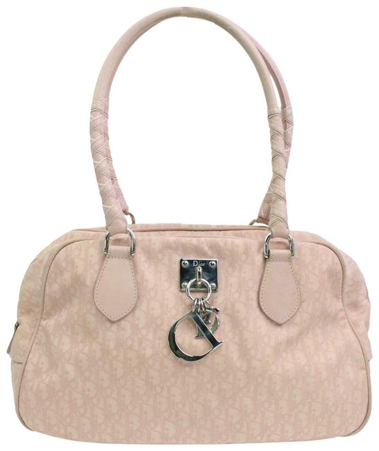 Item - Pink Trotter Style Logo Print Canvas and Pink Leather Satchel