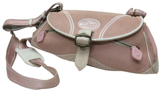 Item - Cross Body Or Shoulder Style Pink and Pink and White Trotter Logo Print Canvas and Pink and White Patent Leather Satchel