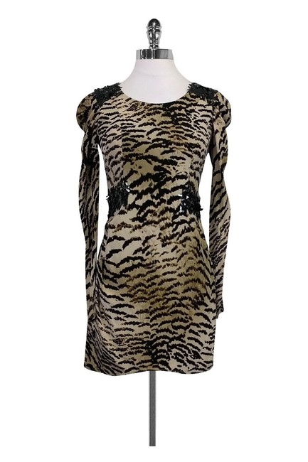 Item - Abstract Animal Print Silk with Sequin Detail Short Night Out Dress Size 8 (M)