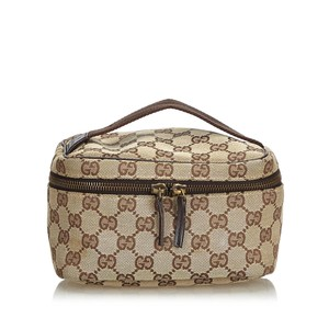Gucci Gucci Brown Jacquard Fabric GG Vanity Bag Italy w Dust Bag SMALL