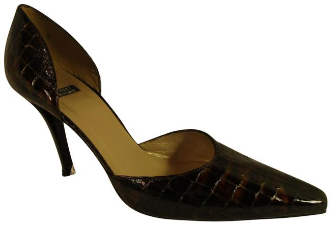 Item - Brown & Copper/Gold Croc Embossed Patent Leather Pumps Size US 10 Regular (M, B)