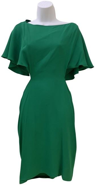 Item - Green Ruffle Detail Backless Mid-length Short Casual Dress Size 8 (M)