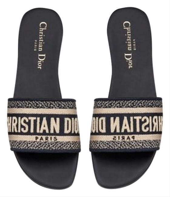 Item - Deep Blue Dway Cotton with Christian Embroidery Mules/Slides Size EU 38 (Approx. US 8) Regular (M, B)