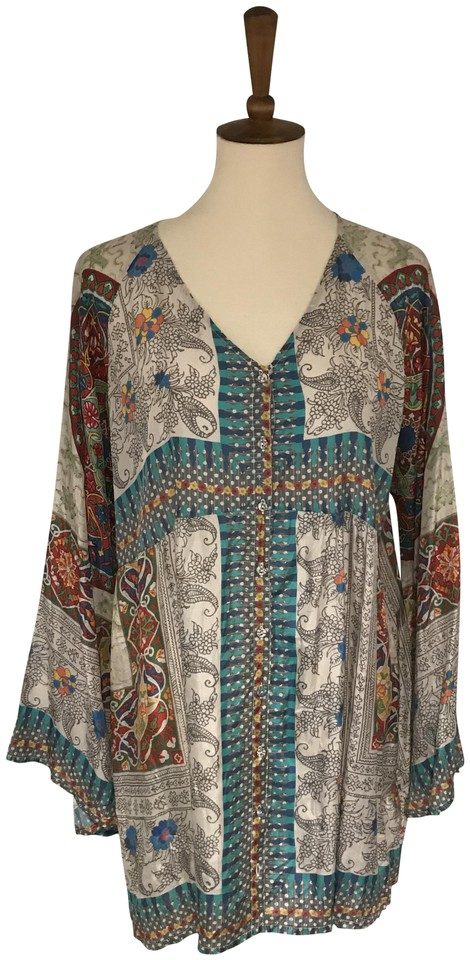 4e8c36af11b Johnny Was Turquoise Multi Tunic Size 12 (L) - Tradesy