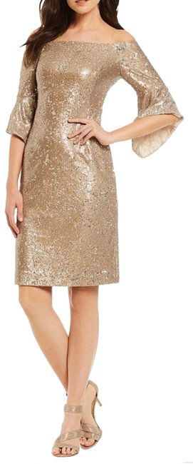 Item - Champagne Sequins Short Night Out Dress Size 12 (L)