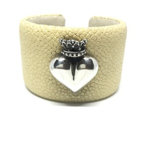 King Baby STERLING SILVER CROWNED HEART STINGRAY CUFF BRACELET
