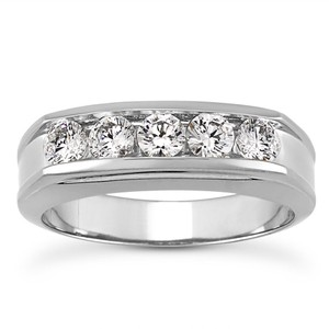 Natural Diamonds of NYC White 1.00 Ct Round Cut Ring In 14 Kt Gold Men's Wedding Band