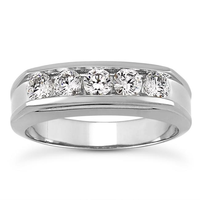 Natural Diamonds of NYC White 1.00 Ct Round Cut Ring In 14 Kt Gold Men's Wedding Band Natural Diamonds of NYC White 1.00 Ct Round Cut Ring In 14 Kt Gold Men's Wedding Band Image 1