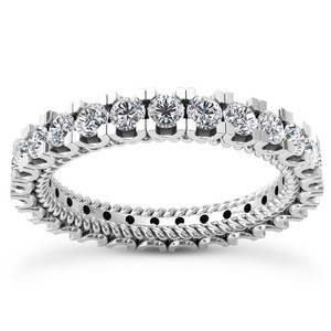 Natural Diamonds of NYC White 2.36 Ct Ladies Round Cut Eternity Ring In 14 Kt Women's Wedding Band